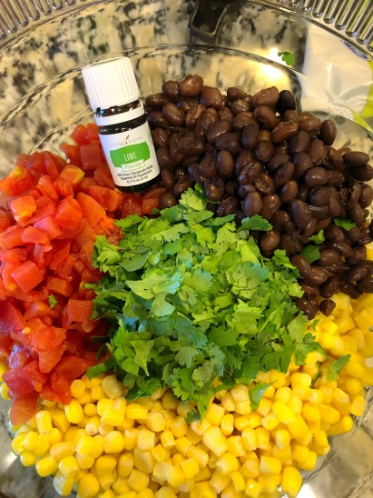Cilantro Lime Bean dip with essential oils